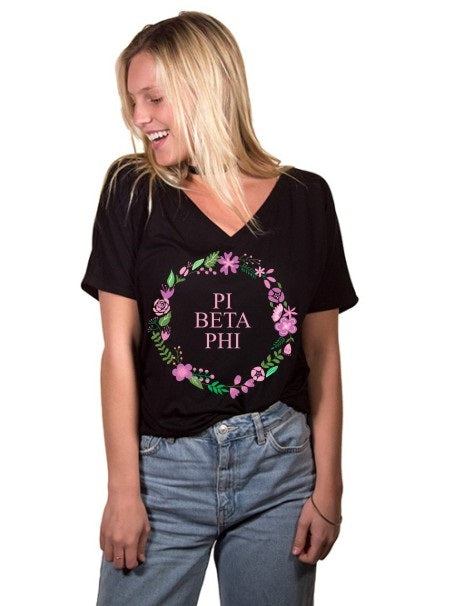 Pi Beta Phi Floral Wreath Slouchy V-Neck Tee