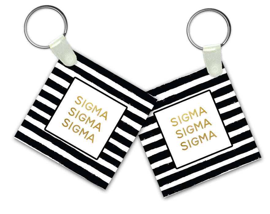 Sigma Sigma Sigma Striped Gold Keychain