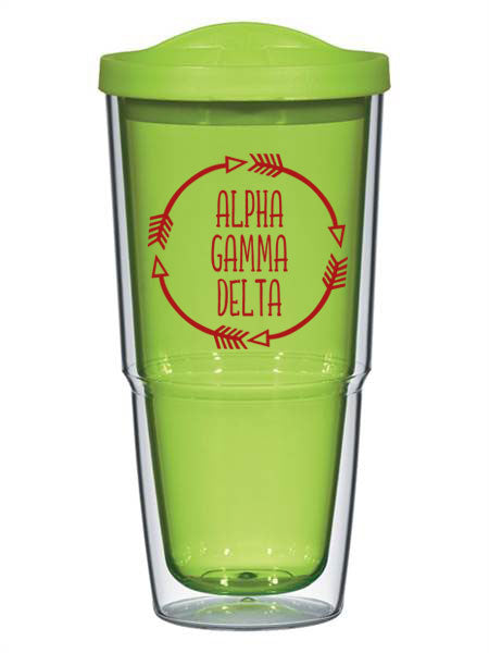 Alpha Gamma Delta Circle Arrows 24 oz Tumbler with Lid