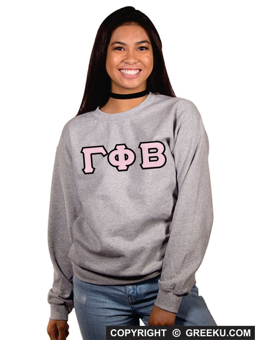 Gamma Phi Beta Classic Colors Sewn-On Letter Crewneck