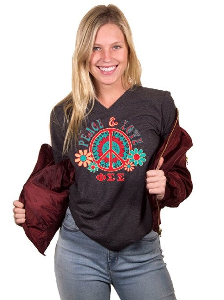 Phi Sigma Sigma Peace Sign Unisex Jersey Short-Sleeve V-Neck