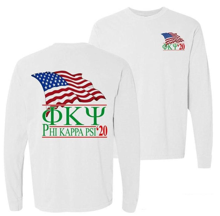 Phi Kappa Psi Patriot Flag Comfort Colors Long Tee
