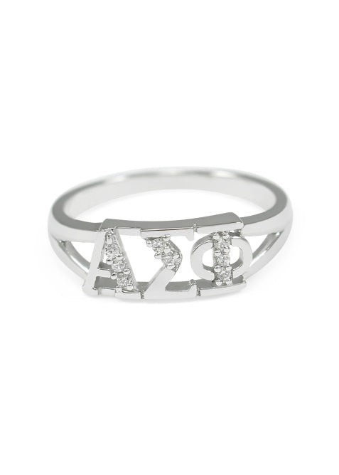 Alpha Sigma Phi Sterling Silver Ring with Lab Created Clear Diamond