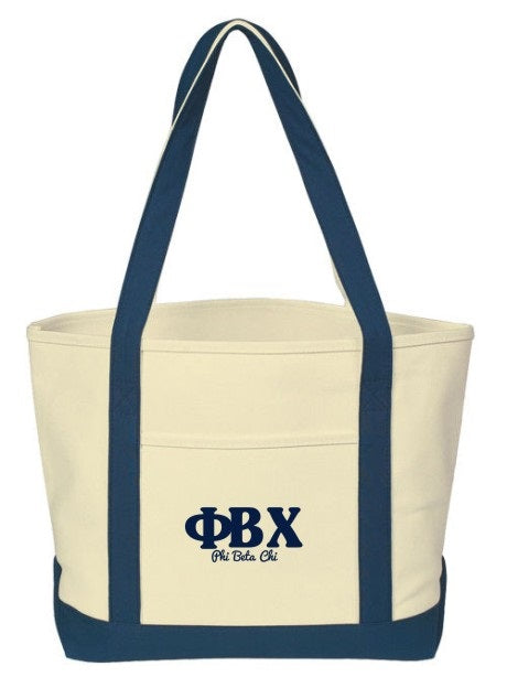 Phi Beta Chi Layered Letters Boat Tote
