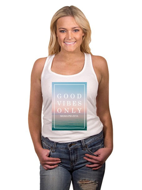 Sigma Psi Zeta Good Vibes Only Triblend Racerback Tank