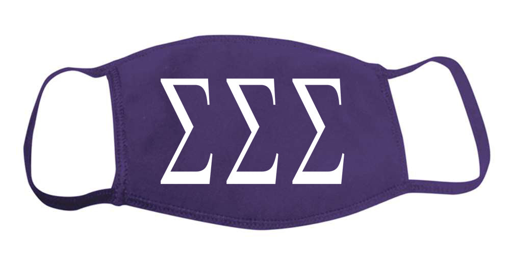 Sigma Sigma Sigma Face Mask With Big Greek Letters