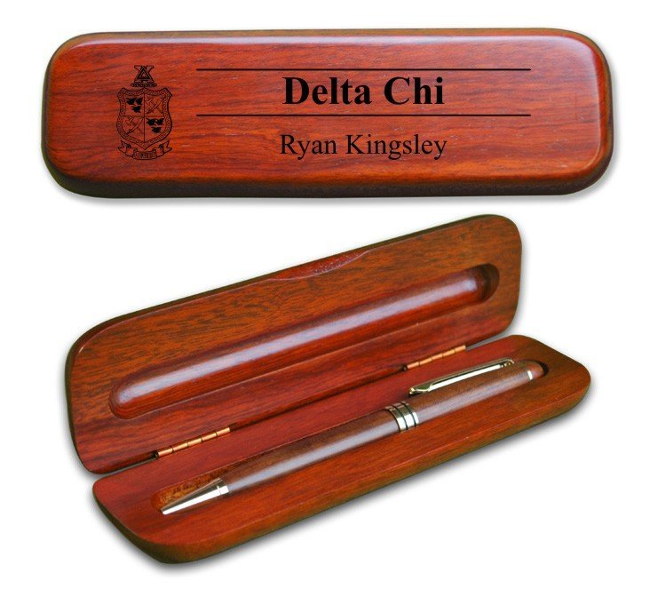 Delta Chi Wooden Pen Case & Pen