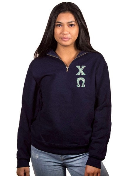 Chi Omega Unisex Quarter-Zip with Sewn-On Letters