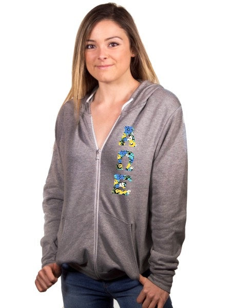 Alpha Omega Epsilon Fleece Full-Zip Hoodie with Sewn-On Letters