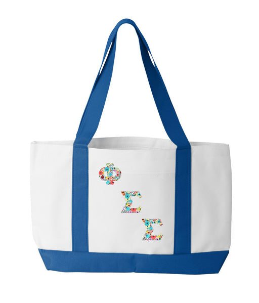 Phi Sigma Sigma 2-Tone Boat Tote with Sewn-On Letters