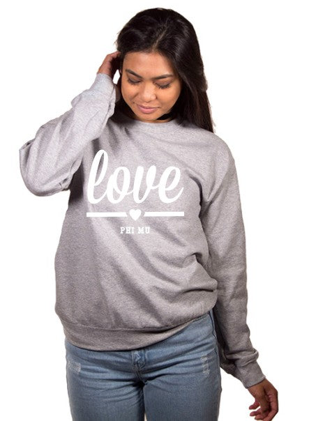 Phi Mu Love Crew Neck Sweatshirt