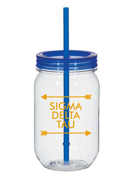 Sigma Delta Tau Arrow Top Bottom 25oz Mason Jar
