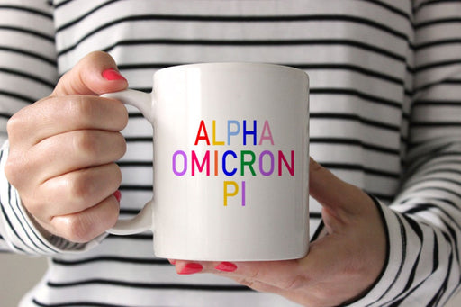 Alpha Omicron Pi Coffee Mug with Rainbows