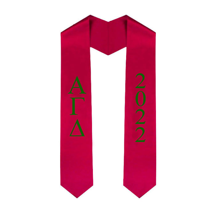 Alpha Gamma Delta Vertical Grad Stole with Letters & Year