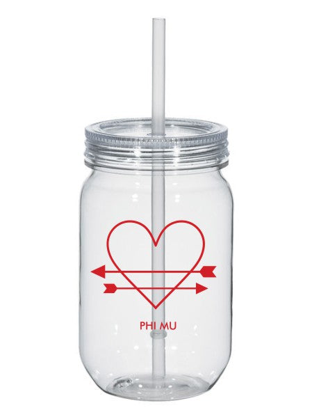 Phi Mu Heart Arrows Name 25oz Mason Jar