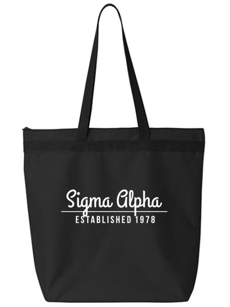 Sigma Alpha Year Established Tote Bag