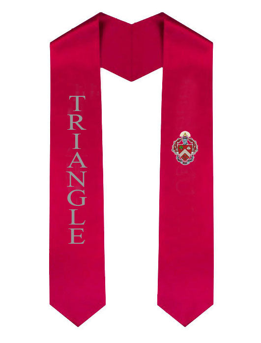 Triangle Lettered Graduation Sash Stole with Crest