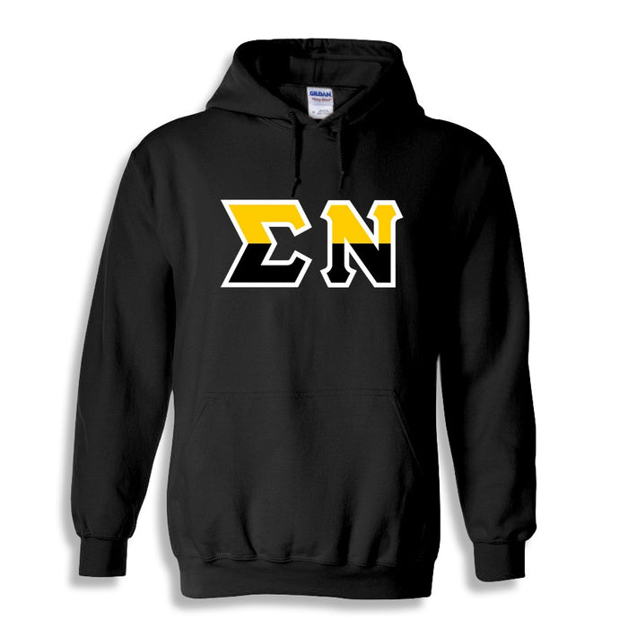 Sigma Nu Two Toned Lettered Hooded Sweatshirt