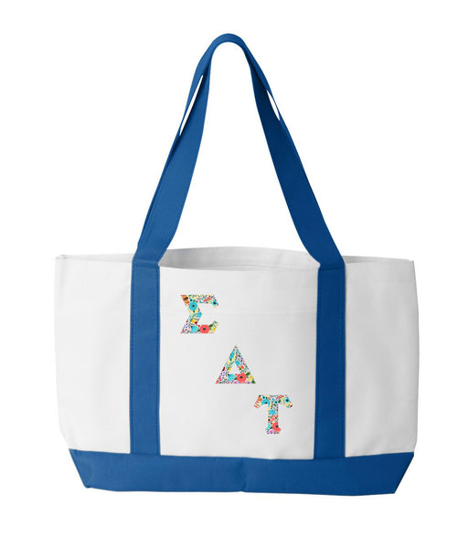 Sigma Delta Tau 2-Tone Boat Tote with Sewn-On Letters