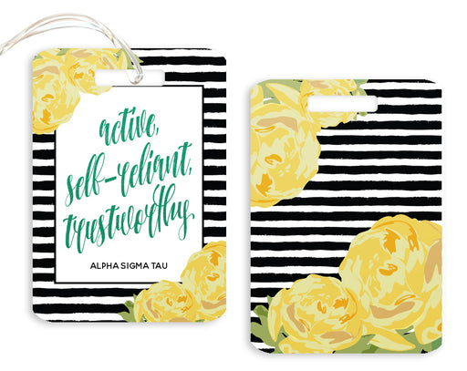 Alpha Sigma Tau Floral Motto Luggage Tag