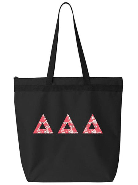 Delta Delta Delta Large Zippered Tote Bag with Sewn-On Letters
