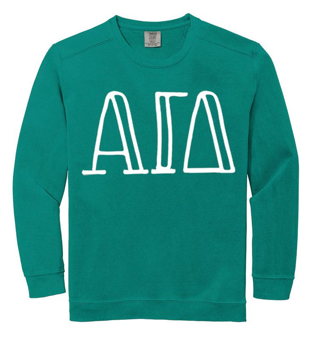 Alpha Gamma Delta Comfort Colors Greek Letter Sorority Crewneck Sweatshirt