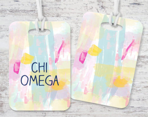 Chi Omega Pastel Strokes Luggage Tag