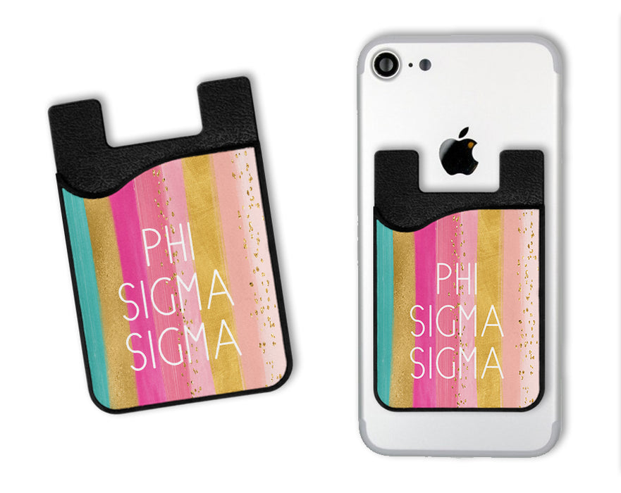 Phi Sigma Sigma Bright Stripes Caddy Phone Wallet