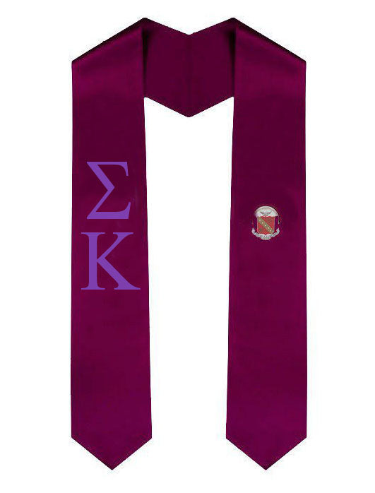 Sigma Kappa Lettered Graduation Sash Stole with Crest