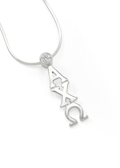 Alpha Chi Omega Sterling Silver Lavaliere Pendant with Clear Swarovski Crystal