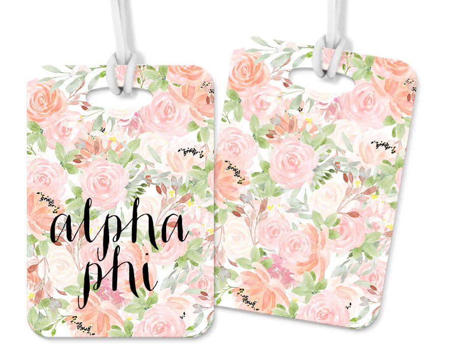 Alpha Phi Pink Floral Luggage Tag