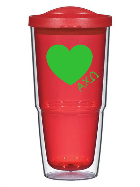 Alpha Chi Omega Heart 24 oz Tumbler with Lid