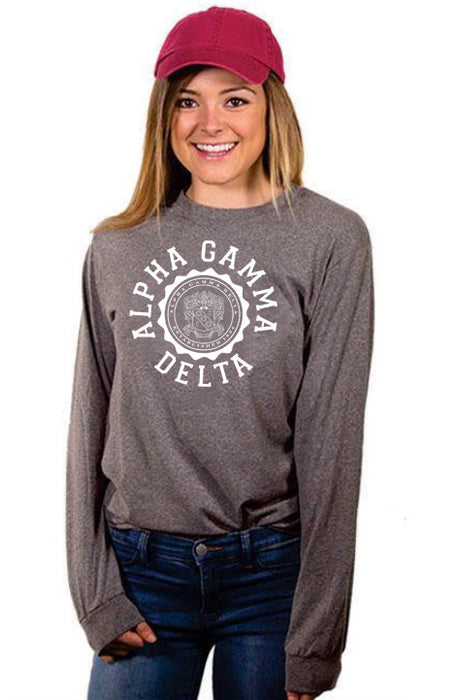 Alpha Gamma Delta Crest Long Sleeve Shirt