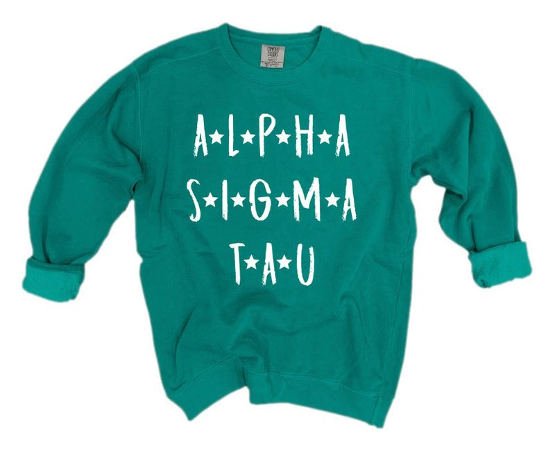 Alpha Sigma Tau Comfort Colors Starry Nickname Sorority Sweatshirt