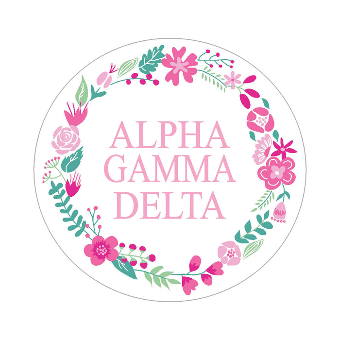 Alpha Gamma Delta Floral Wreath Sticker