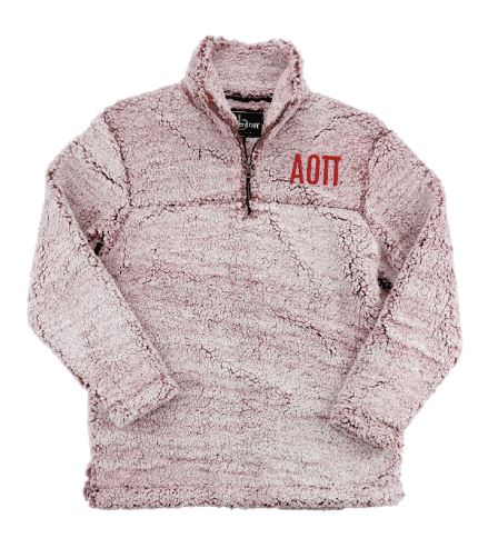 Alpha Omicron Pi Embroidered Sherpa Quarter Zip Pullover