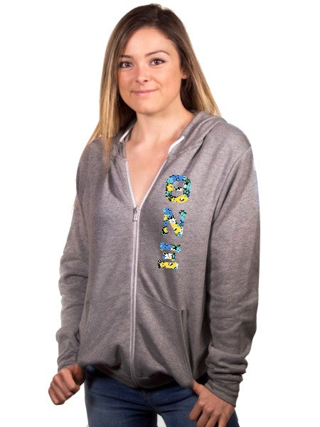 Theta Nu Xi Unisex Full-Zip Hoodie with Sewn-On Letters
