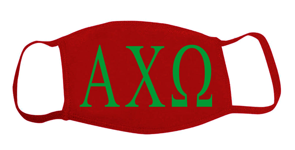 Alpha Chi Omega Face Mask With Big Greek Letters