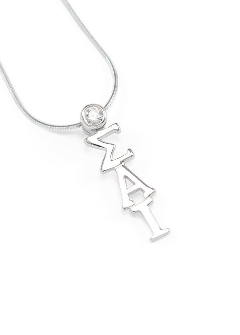 Sigma Alpha Iota Sterling Silver Lavaliere Pendant with Clear Swarovski Crystal