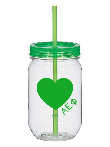 Alpha Epsilon Phi 25oz Scribbled Heart Mason Jar