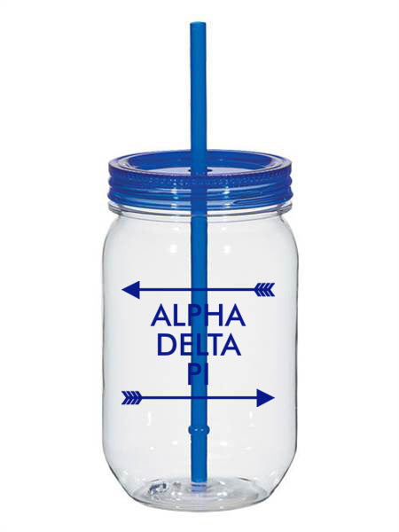 Alpha Delta Pi Arrow Top Bottom 25oz Mason Jar