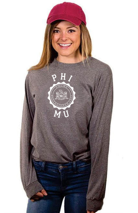 Phi Mu Crest Long Sleeve Shirt
