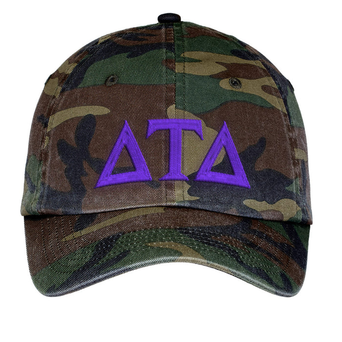 Delta Tau Delta Letters Embroidered Camouflage Hat