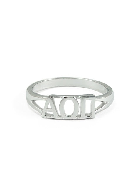 Alpha Omicron Pi Sterling Silver Ring