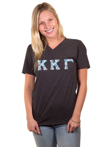 Kappa Kappa Gamma Unisex V-Neck T-Shirt with Sewn-On Letters