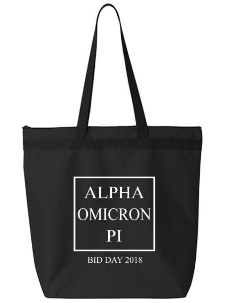 Alpha Omicron Pi Box Stacked Event Tote Bag