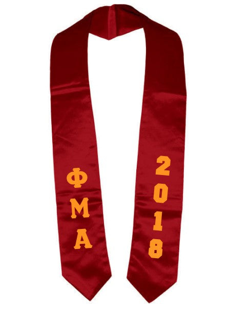 Phi Mu Alpha Vertical Grad Stole with Letters & Year