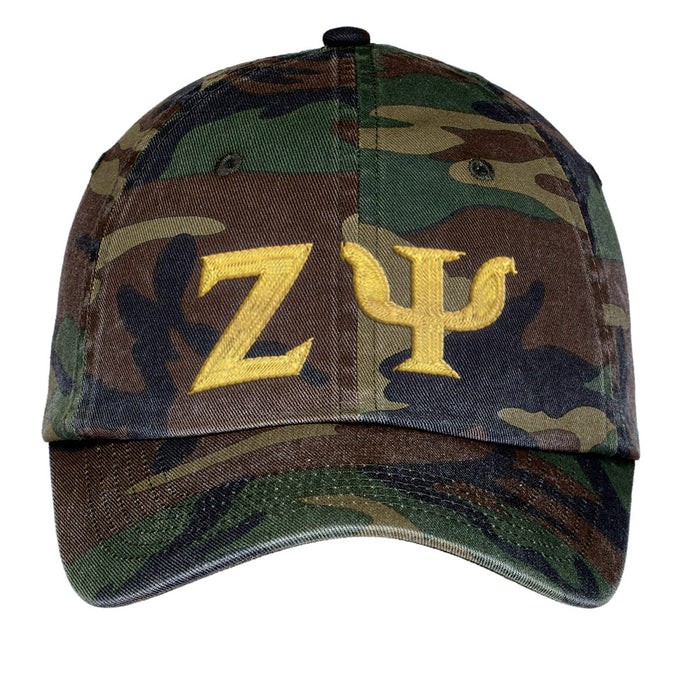 Zeta Psi Letters Embroidered Camouflage Hat