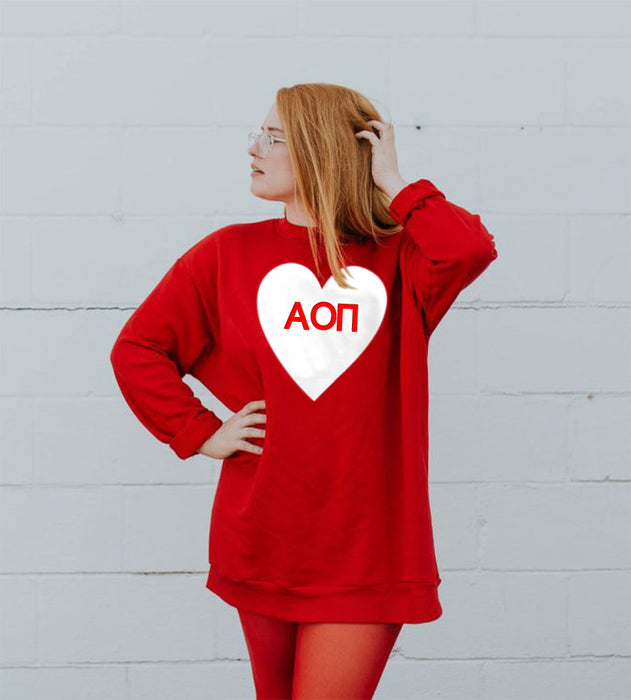 Alpha Omicron Pi Bursting Hearts Crew Neck Sweatshirt