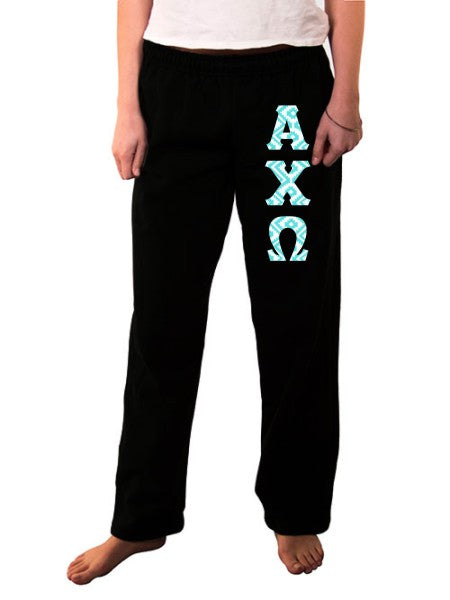 Alpha Chi Omega Open Bottom Sweatpants with Sewn-On Letters